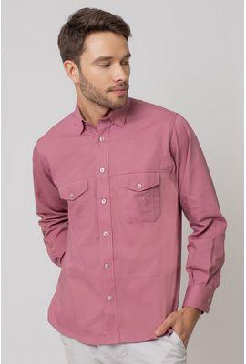 Camisa casual masculina tradicional sarjada salmão f01695a