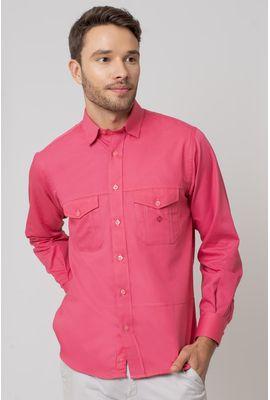 Camisa casual masculina tradicional sarjada pink f01695a