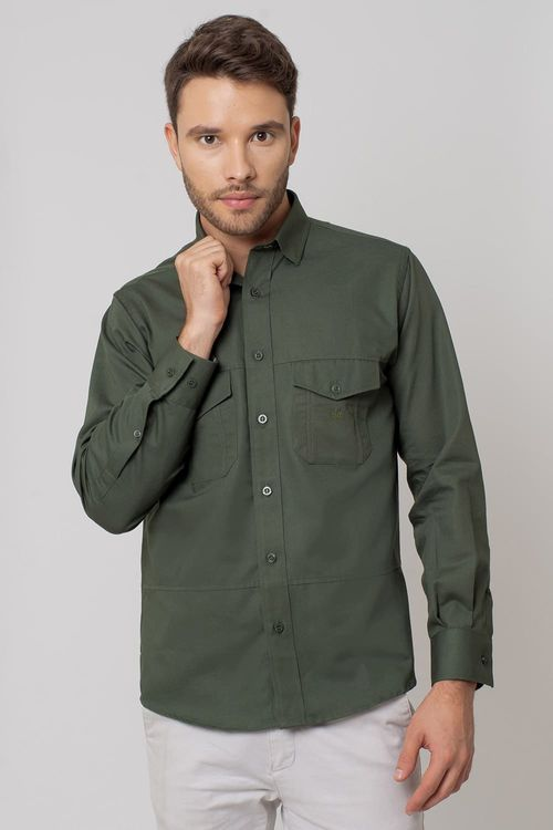 Camisa casual masculina tradicional sarjada verde f01695a