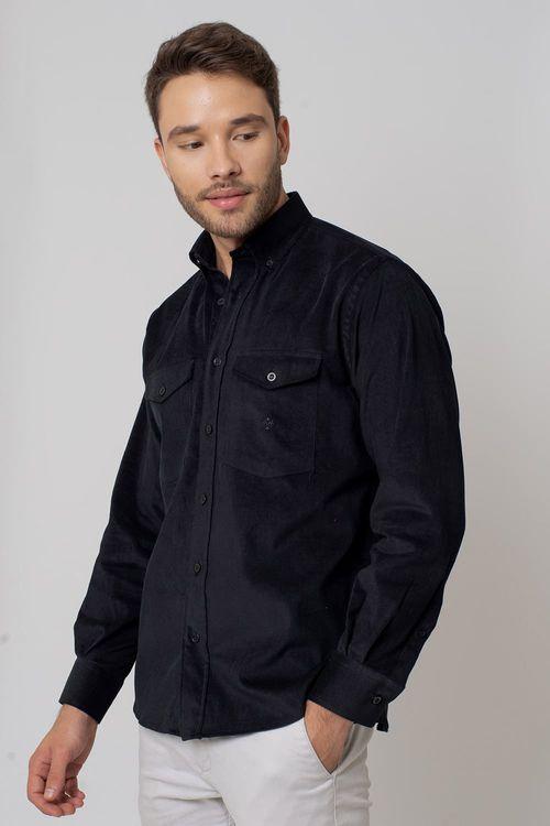 Camisa casual masculina tradicional veludo preto f02033a