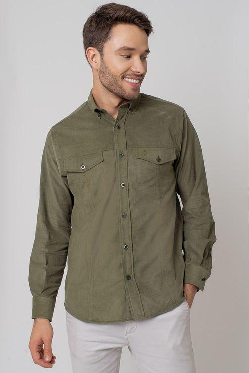 Camisa casual masculina tradicional veludo verde f02031a