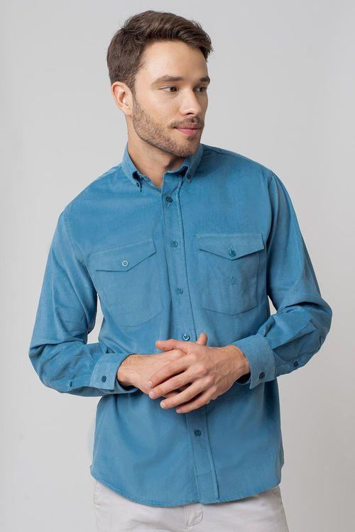 Camisa casual masculina tradicional veludo azul f02033a