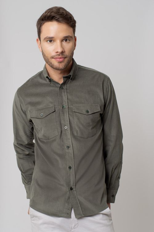 Camisa casual masculina tradicional veludo verde f02033a