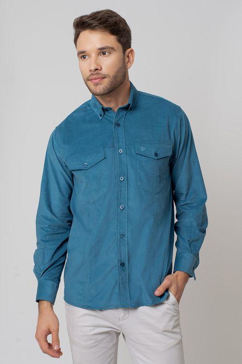 Camisa casual masculina tradicional veludo azul f02031a