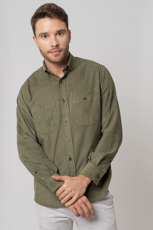 Camisa casual masculina tradicional veludo verde f02032a