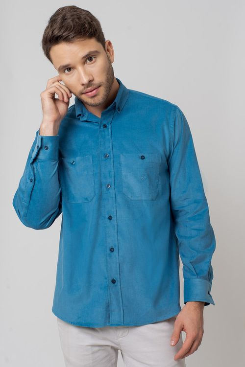 Camisa casual masculina tradicional veludo azul f02032a