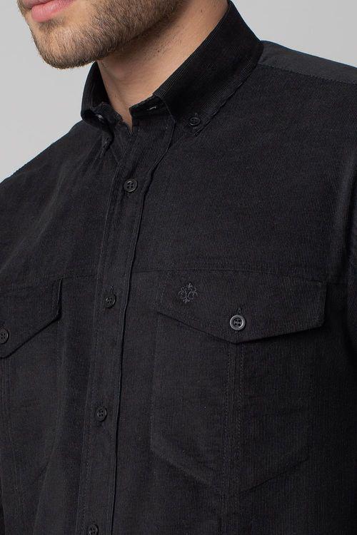 Camisa casual masculina tradicional veludo preto f02031a