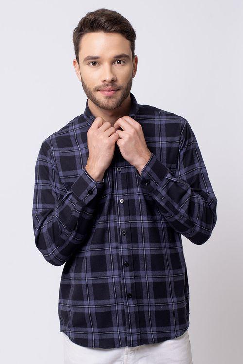 Camisa casual masculina tradicional flanela preto f08187a