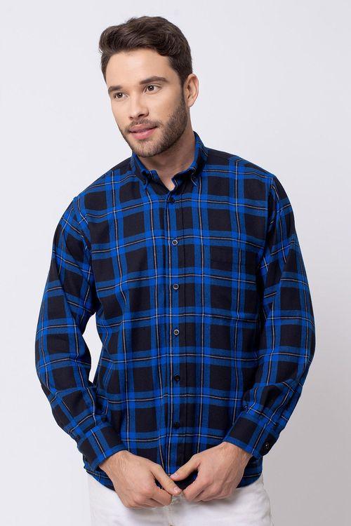 Camisa casual masculina tradicional flanela azul f08187a