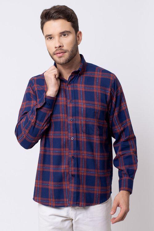 Camisa casual masculina tradicional flanela vermelho f08187a