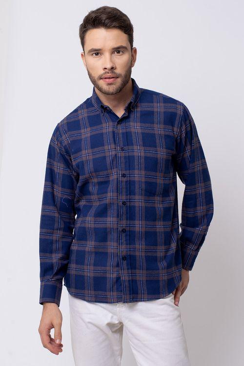 Camisa casual masculina tradicional flanela azul escuro f08187a