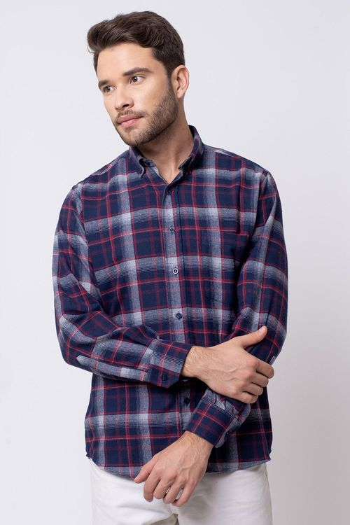 Camisa casual masculina tradicional flanela azul escuro f08188a