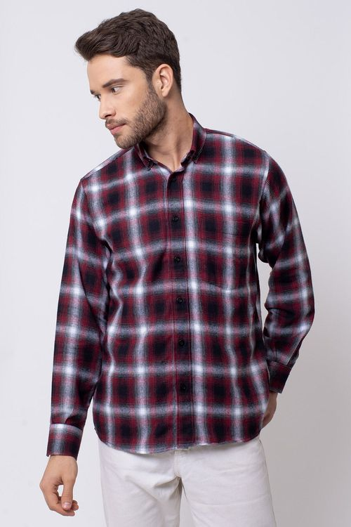 Camisa casual masculina tradicional flanela vermelho f08189a