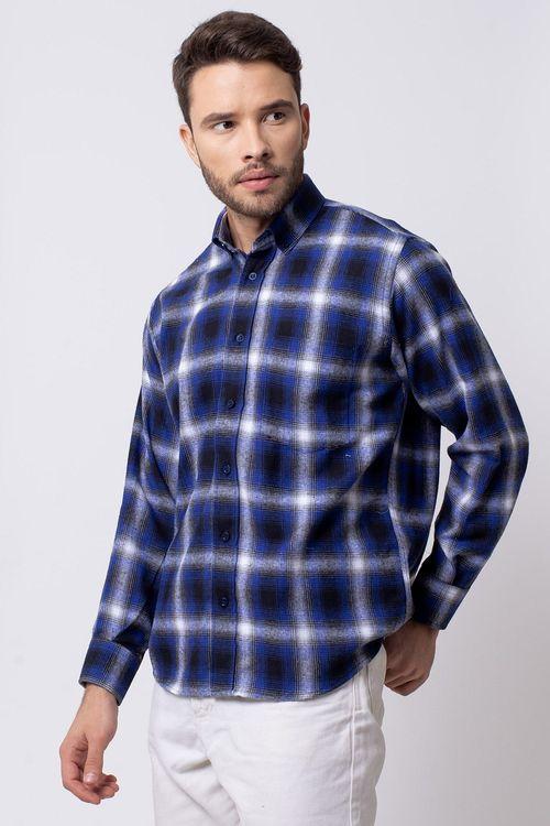 Camisa casual masculina tradicional flanela azul f08189a