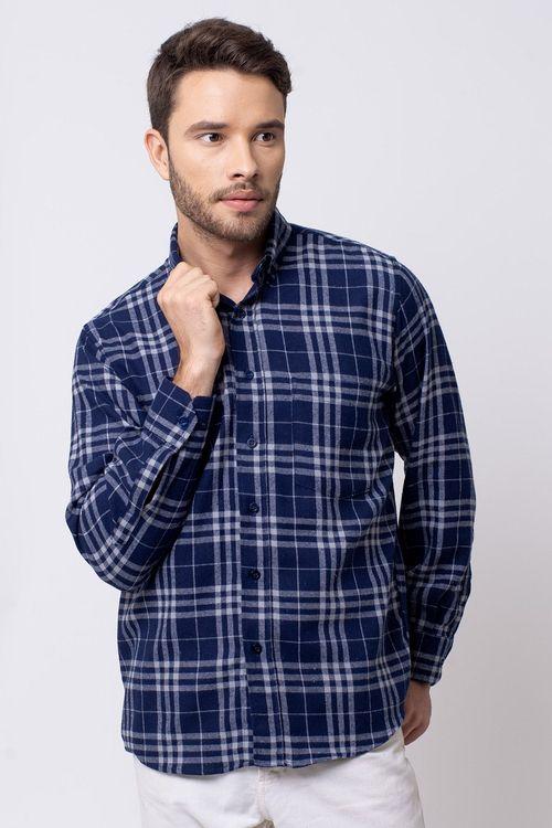 Camisa casual masculina tradicional flanela azul escuro f08192a