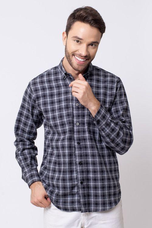 Camisa casual masculina tradicional flanela preto f08194a