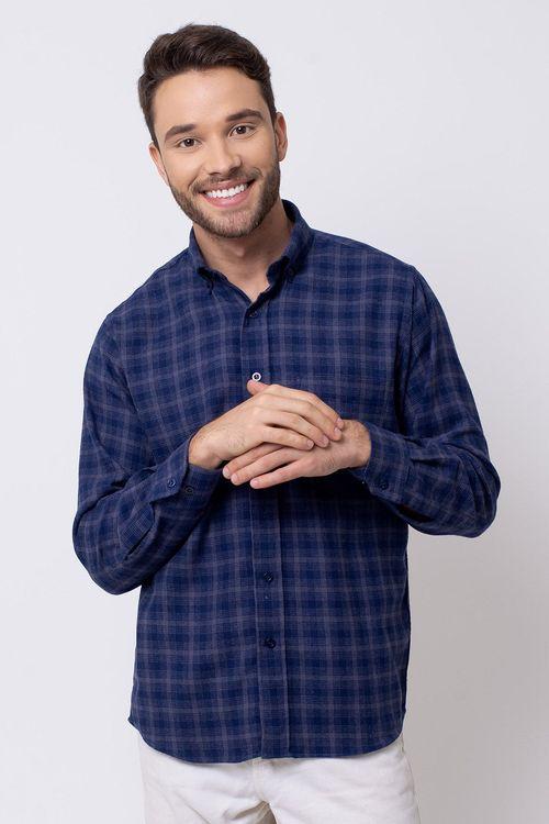 Camisa casual masculina tradicional flanela azul escuro f08194a