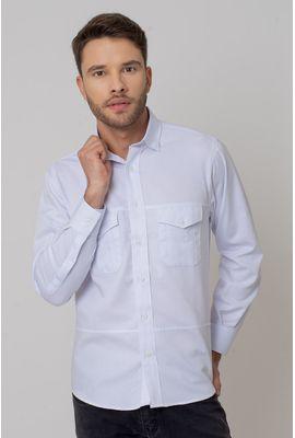 Camisa casual masculina tradicional sarjada branco f01695a