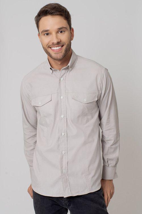 Camisa casual masculina tradicional veludo bege f02031a