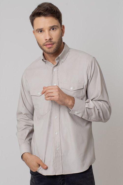Camisa casual masculina tradicional veludo bege f02033a