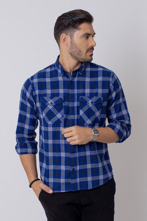 Camisa Casual Masculina Tradicional Flanela Azul Escuro (545) 08206