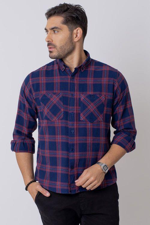 Camisa Casual Masculina Tradicional Flanela Azul Escuro (049) 08208