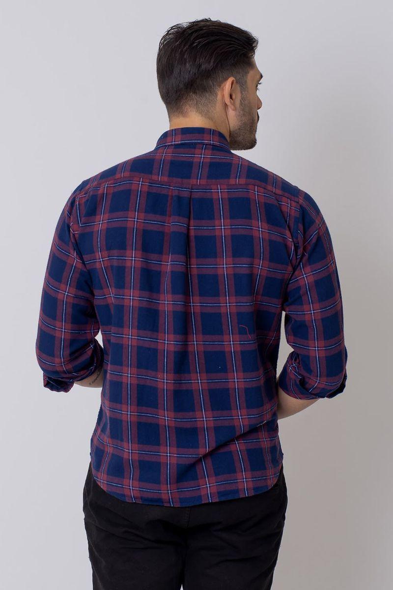 Camisa-Casual-Masculina-Tradicional-Flanela-Azul-Escuro-08208-02