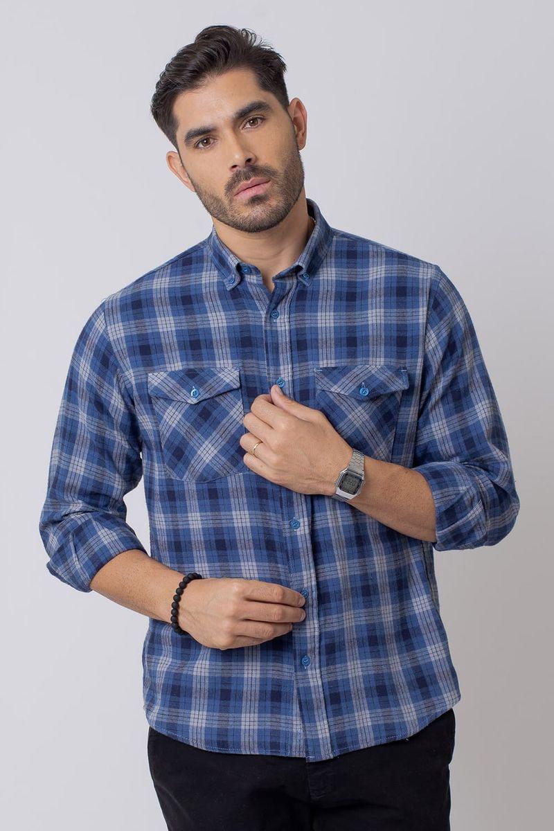 Camisa-Casual-Masculina-Tradicional-Flanela-Azul-Claro-08206-01