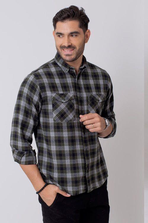 Camisa Casual Masculina Tradicional Flanela Verde (016) 08206