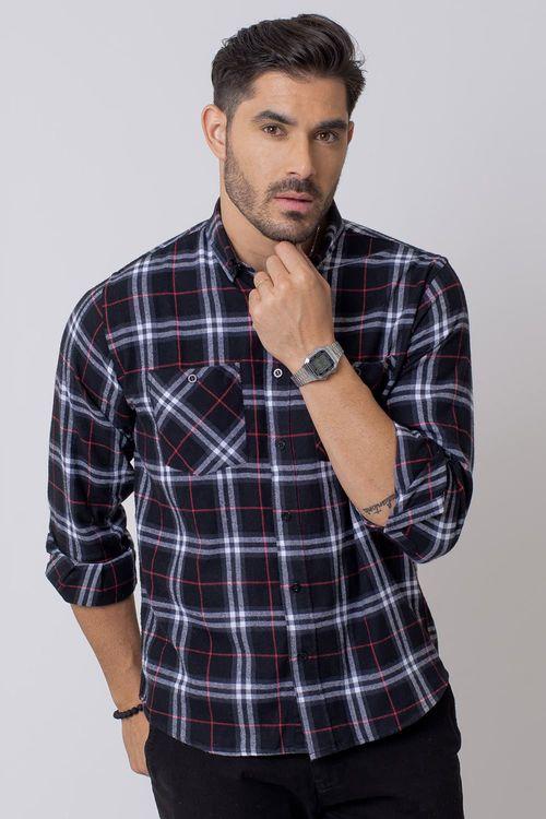 Camisa Casual Masculina Tradicional Flanela Preto (002) 08207