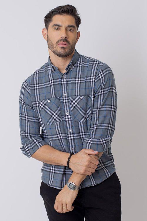 Camisa Casual Masculina Tradicional Flanela Cinza (015) 08207