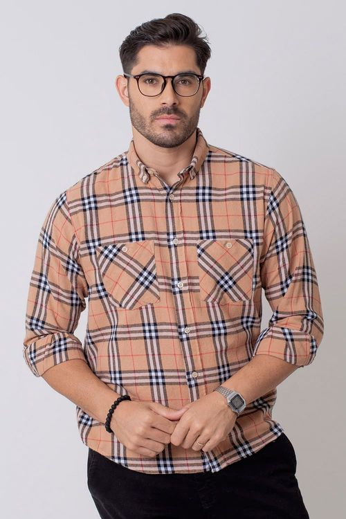 Camisa Casual Masculina Tradicional Flanela Laranja (072) 08207