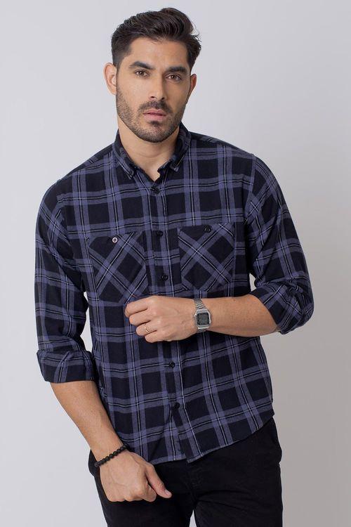 Camisa Casual Masculina Tradicional Flanela Preto (002) 08208