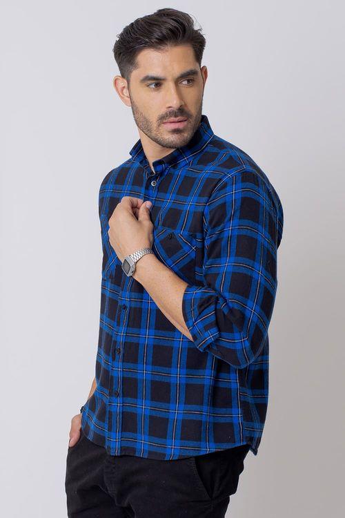 Camisa Casual Masculina Tradicional Flanela Azul Escuro (024) 08208