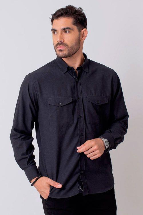 Camisa Casual Masculina Tradicional Flanela Preto 002 08204