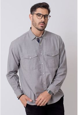 Camisa Casual Masculina Tradicional Flanela Cinza 015 08204