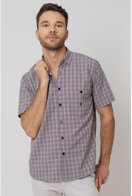 Camisa Casual Masculina Tradicional Microfibra Grafite 017 07966