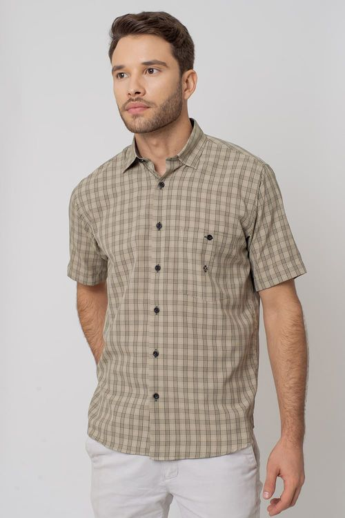 Camisa Casual Masculina Tradicional Microfibra Bege 035 07966