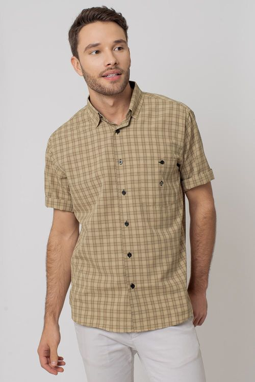 Camisa Casual Masculina Tradicional Microfibra Bege 062 07966