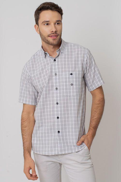 Camisa Casual Masculina Tradicional Microfibra Branco 074 07966