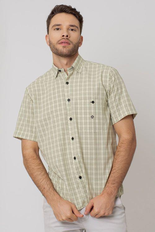 Camisa Casual Masculina Tradicional Microfibra Creme 166 07966