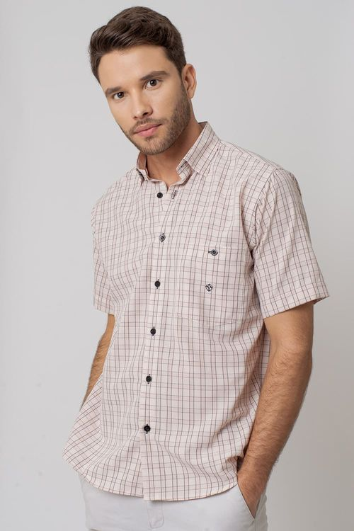 Camisa Casual Masculina Tradicional Microfibra Bege 167 07966