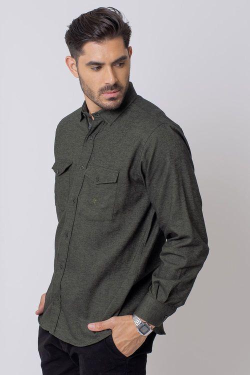 Camisa Casual Masculina Tradicional Flanela Verde 016 08204