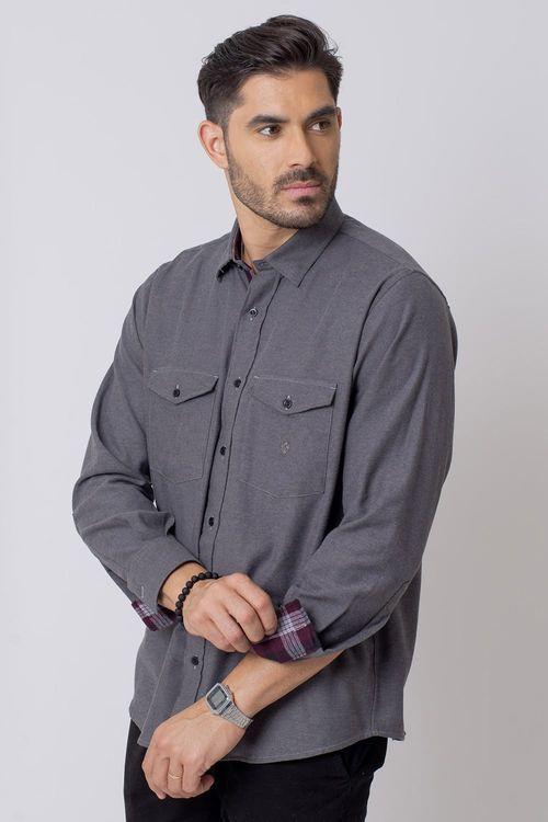 Camisa Casual Masculina Tradicional Flanela Grafite 017 08204