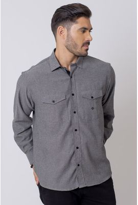 Camisa Casual Masculina Tradicional Flanela Cinza 030 08204