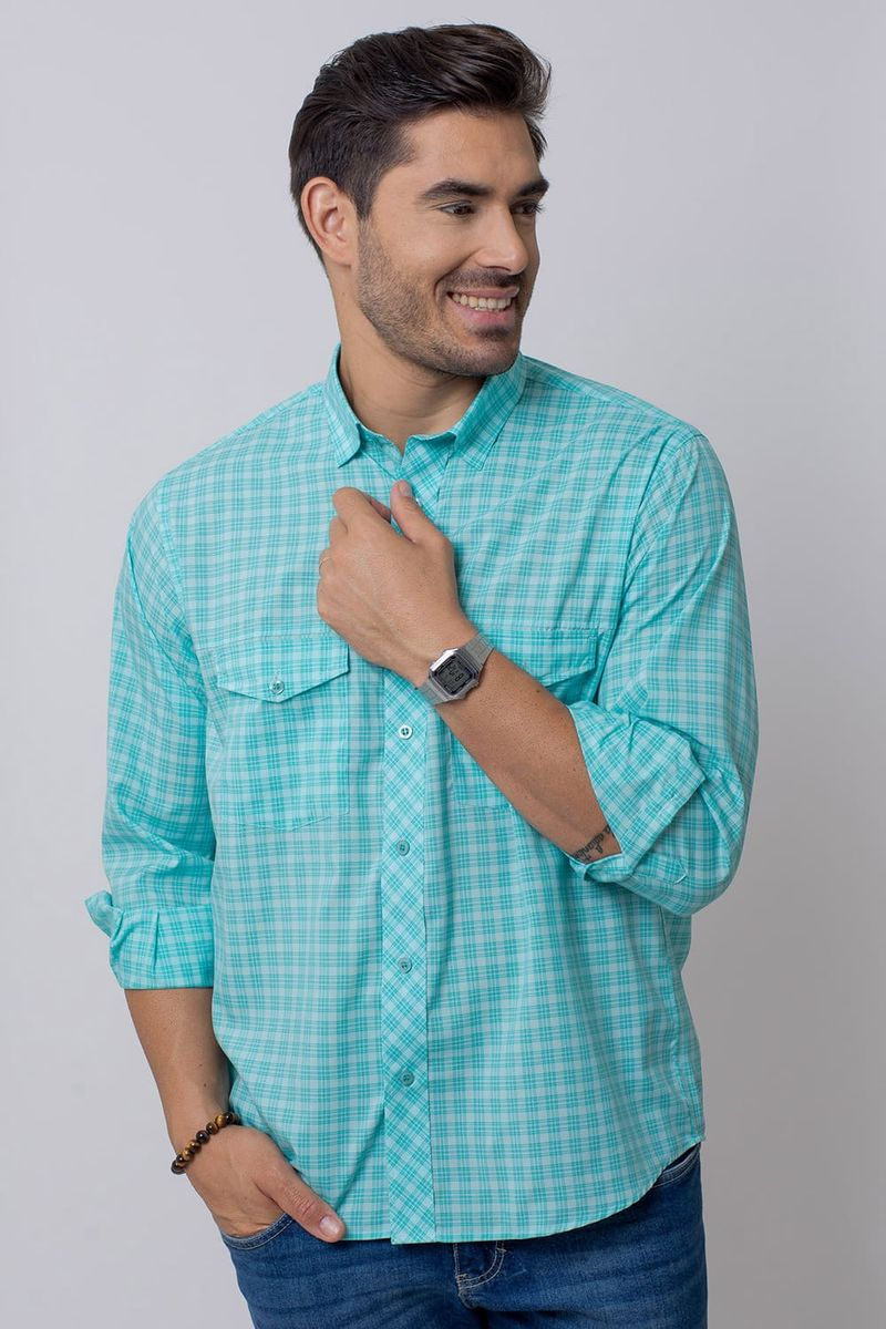 Camisa-Casual-Masculina-Tradicional-Microfibra-Verde-Claro-08025-01