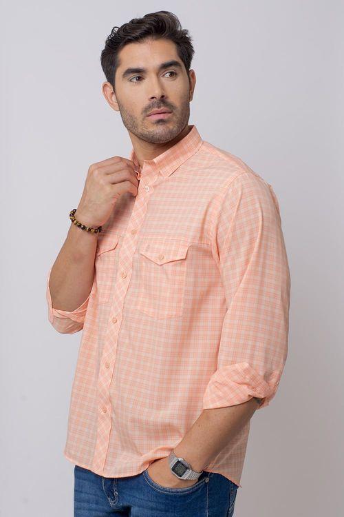 Camisa Casual Masculina Tradicional Microfibra Salmão 042 08025