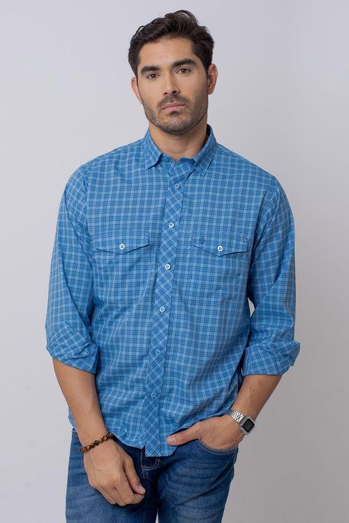 Camisa Casual Masculina Tradicional Microfibra Azul 068 08025