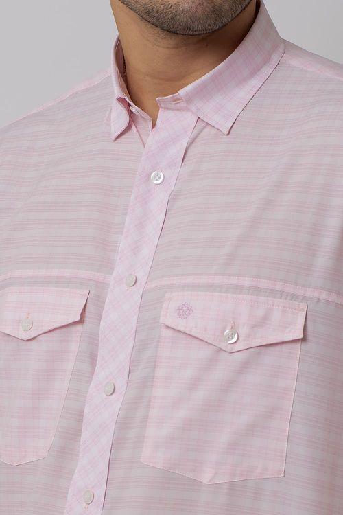 Camisa Casual Masculina Tradicional Microfibra Rosa 102 08025