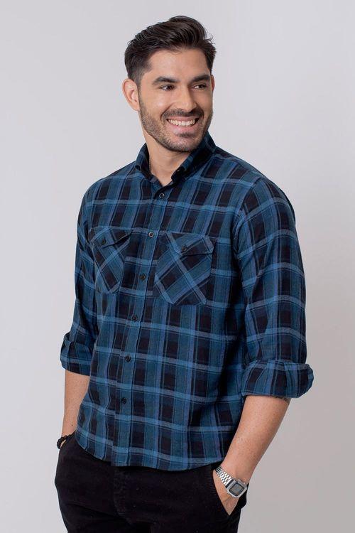 Camisa Casual Masculina Tradicional Flanela Cinza 028 08209